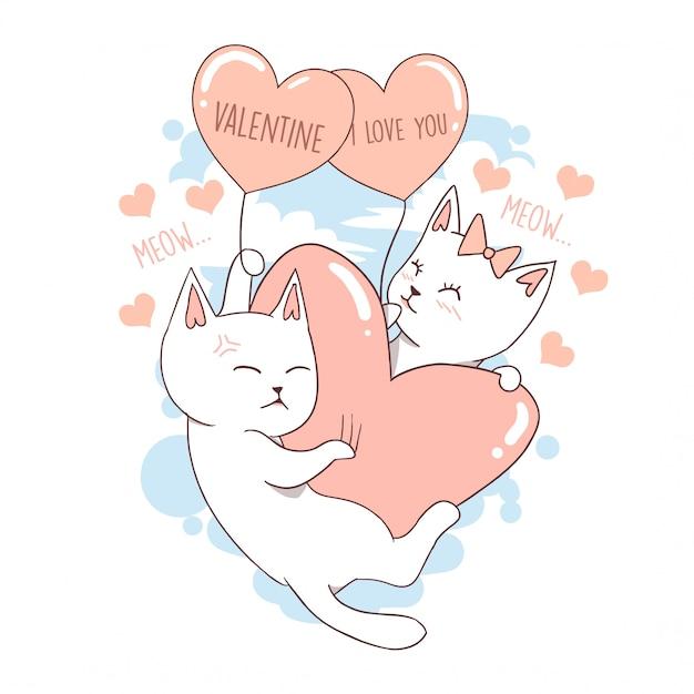 Cat cute animal valentine love heart Premium Vector