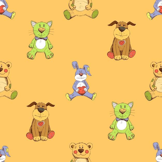 고양이, 개, 토끼 배경 무늬. 강아지, 새끼 고양이 및 토끼. 무료 벡터
