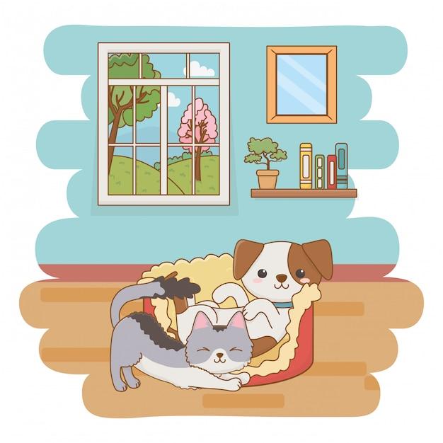 Cat and dog cartoon clip-art illustration Premium Vector