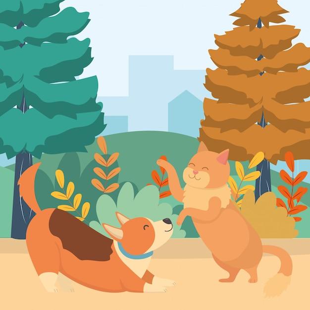 Cat and dog cartoon Free Vector