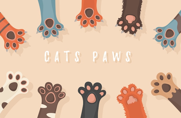 Cat And Dog Paws Background Prints Cartoon Cute Animals Legs Wallpaper Brochure Flyer Postcard Paws Up Animals Isolated On White Background Illustration In Flat Design Premium Vector
