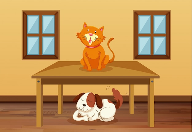 Cat and dog in the room Free Vector