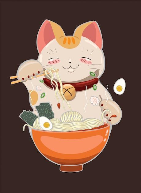 Cat eats ramen noodles with chopsticks.  graphics. Premium Vector