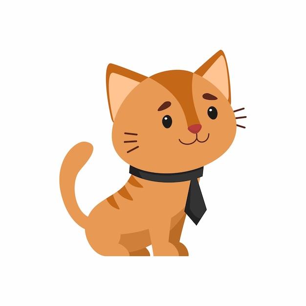 Gatto in elegante cravatta Vettore gratuito