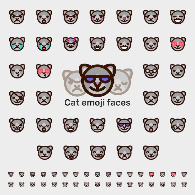 Cat Emoji Faces Vector Premium Download