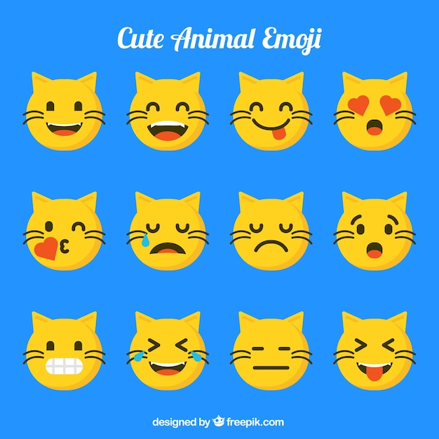 Cat emoji set with funny facial expressions Free Vector