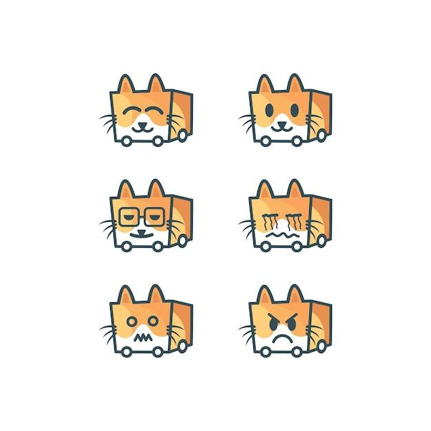 Cat emoticon logo Premium Vector