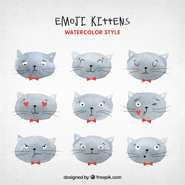 Cat emoticons in watercolor style Free Vector