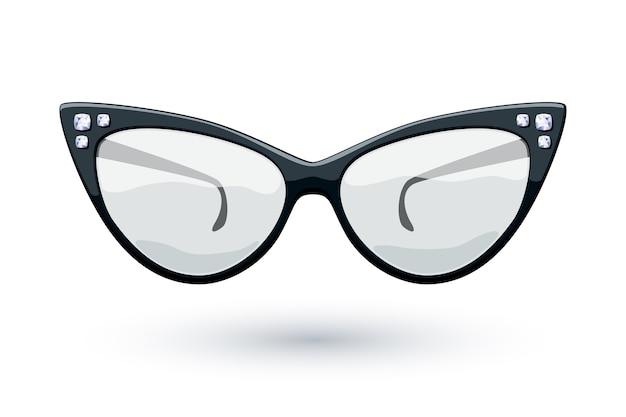 Черные ретро очки кошачий глаз с иллюстрацией драгоценных камней бриллиантов. логотип износа глаз. Premium векторы