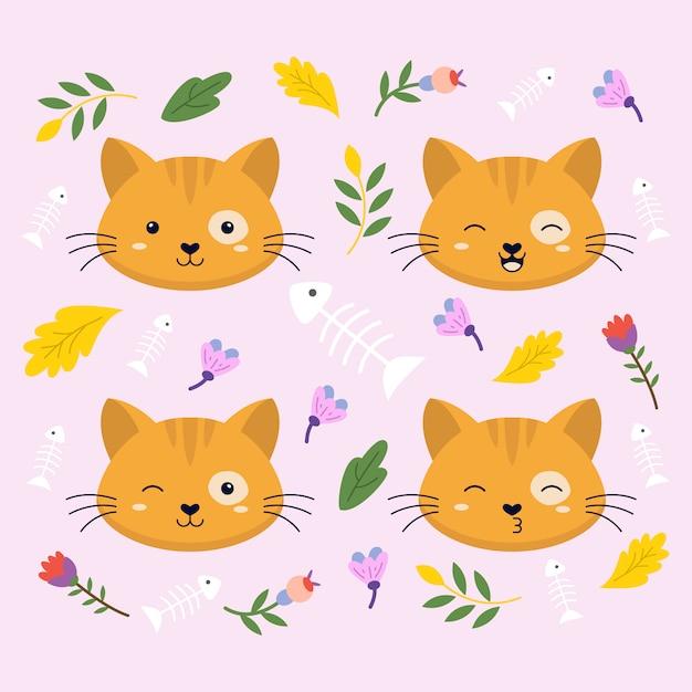 Cat face expression cute vector illustration Premium Vector