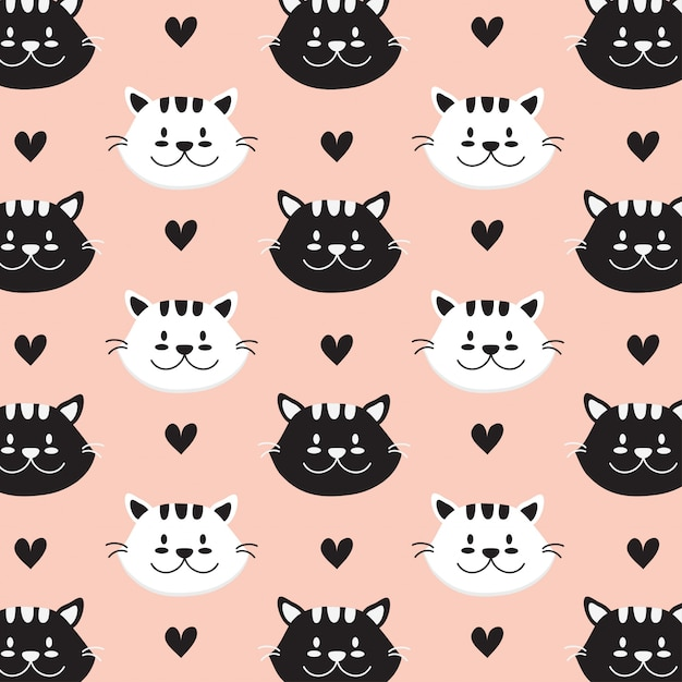 Cat face hand drawn style pattern Premium Vector