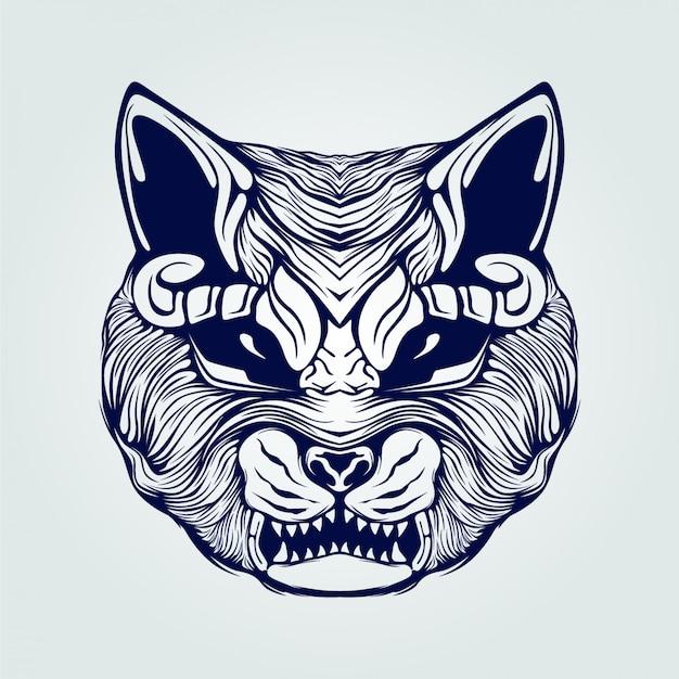Cat face line art open mouth Premium Vector