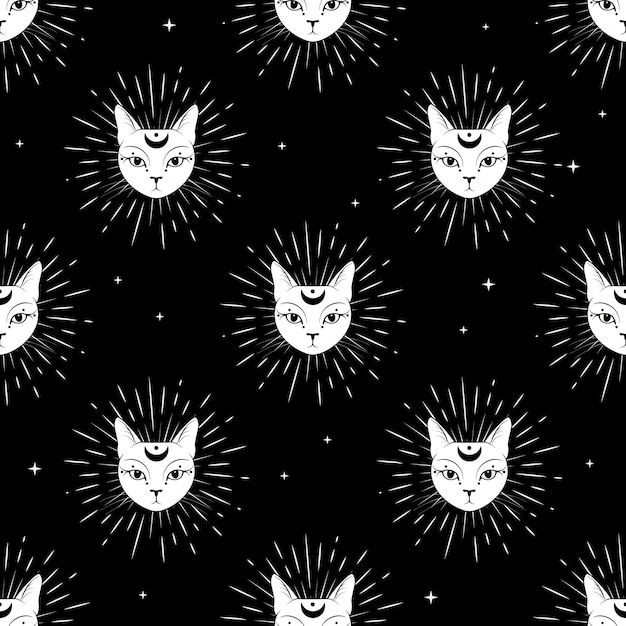 Cat face with moon on night sky seamless pattern background. Premium Vector