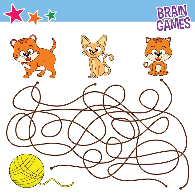 graphic about Printable Kids Games titled Cat discovering line game titles, printable youngsters game Vector