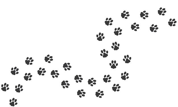 Путь следы кошки Premium векторы