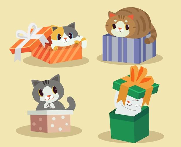Cat in the gift box Premium Vector