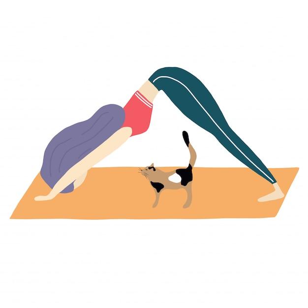 Cat and girl do yoga Premium Vector