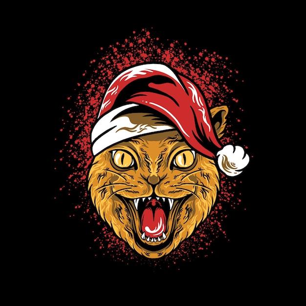 猫の頭のクリスマスイラスト Premiumベクター