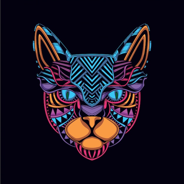 Cat head from decorative glow neon color Premium Vector