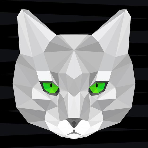 Cat head. nature and animals life theme background. abstract geometric polygonal triangle cat patte