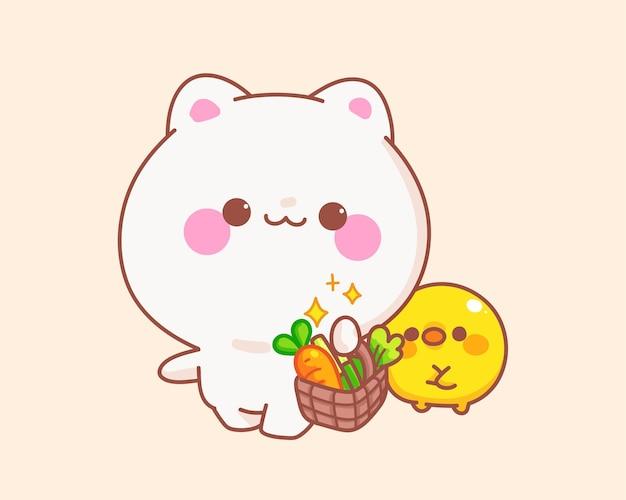 アヒルの漫画イラストと野菜のバスケットを保持している猫 無料ベクター