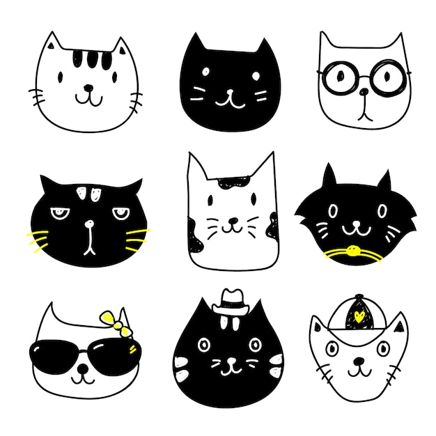 Cat icons collection Free Vector