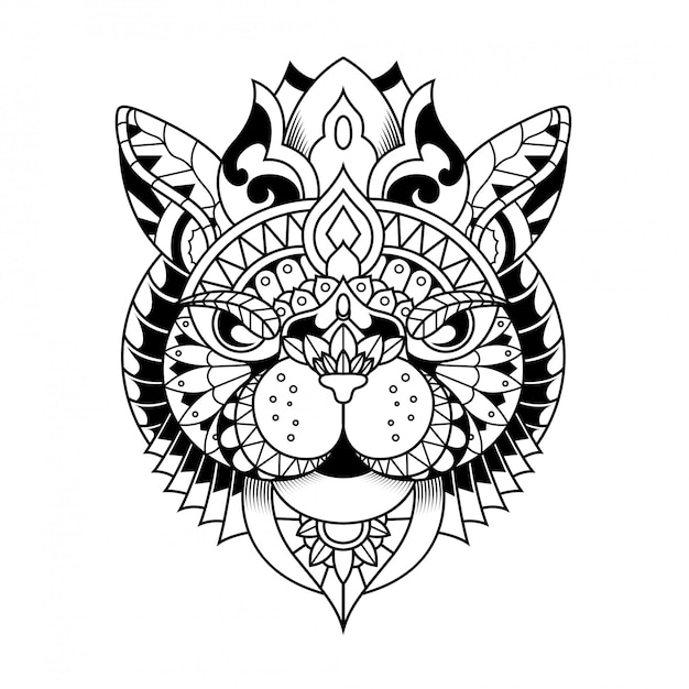 Cat illustration, mandala zentangle and tshirt design Premium Vector