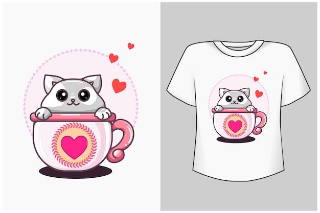 カップ漫画イラストの猫 Premiumベクター