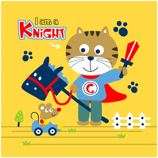 Cat is a knight playing with mouse funny animal cartoon Premium Vector