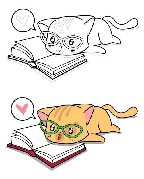 Cat is reading a book cartoon coloring page Premium Vector
