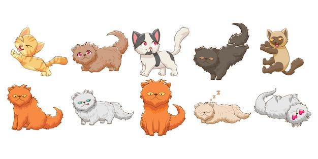 Кот котенок ребенок забавный персонаж векторный набор графический дизайн Premium векторы