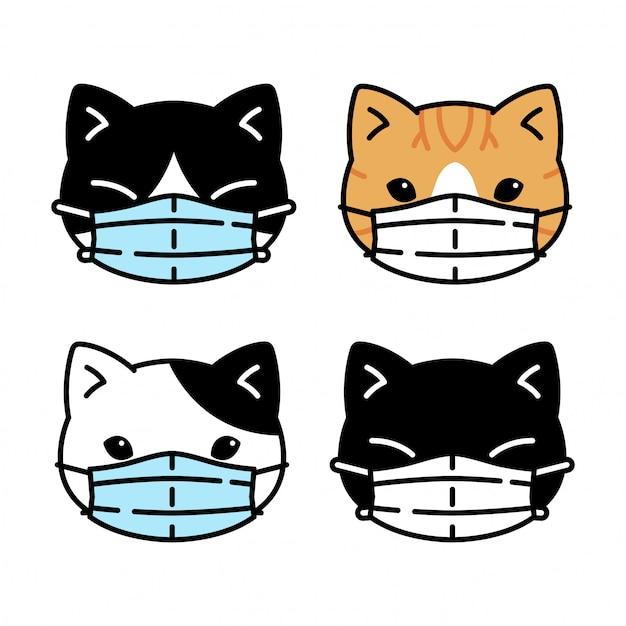 Cat Kitten Face Mask Coronavirus Covid 19 Cartoon Premium Vector