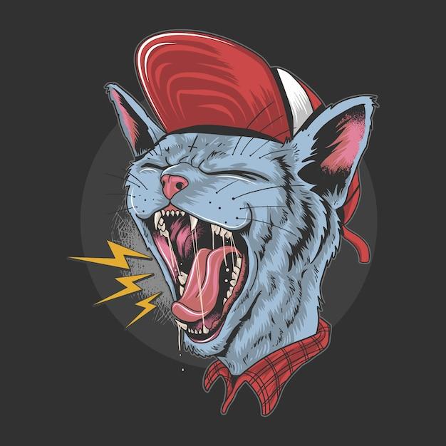 Cat kitty scream над rock n roll punker artwork Premium векторы
