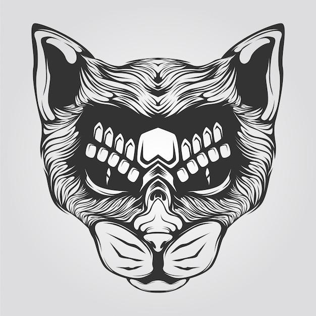 Cat line art black and white Premium Vector