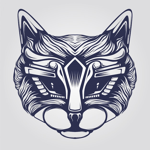 Cat line art Premium Vector