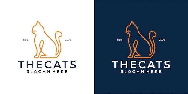 Шаблон логотипа кошки Premium векторы