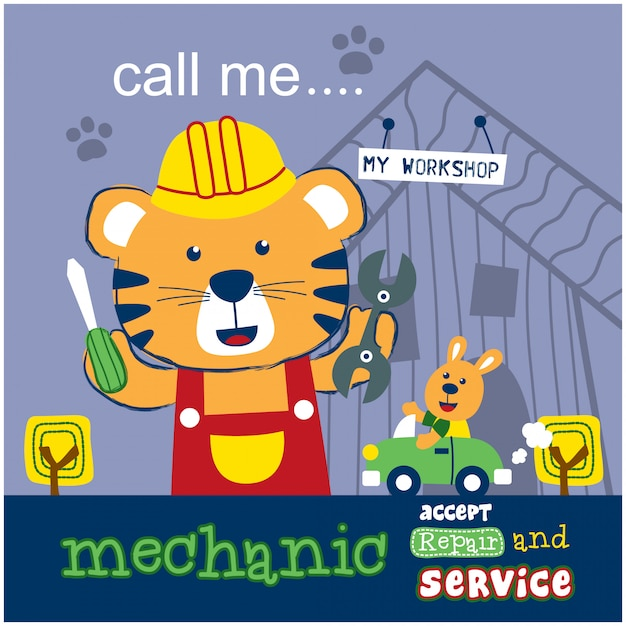 Cat the mechanic funny animal cartoon Premium Vector