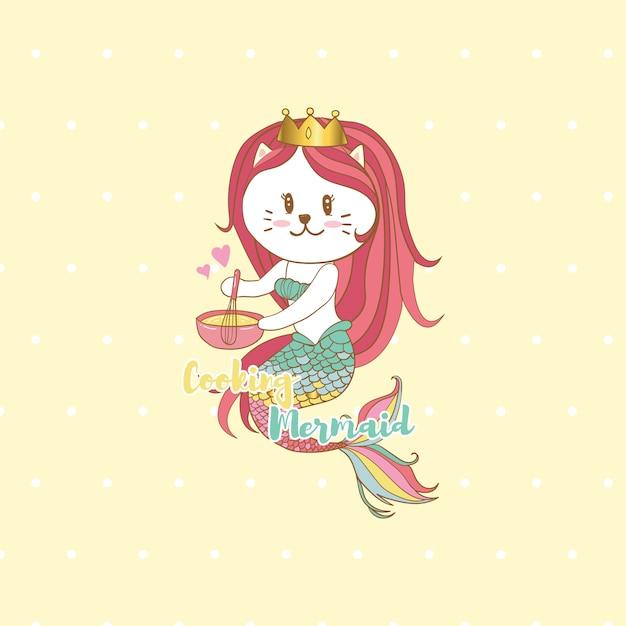 Cat mermaid cooking with pastel colors background,cute cartoon Premium Vector