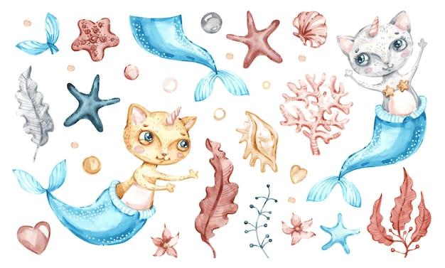 Кошка русалка единорог иллюстрация дизайн Premium векторы