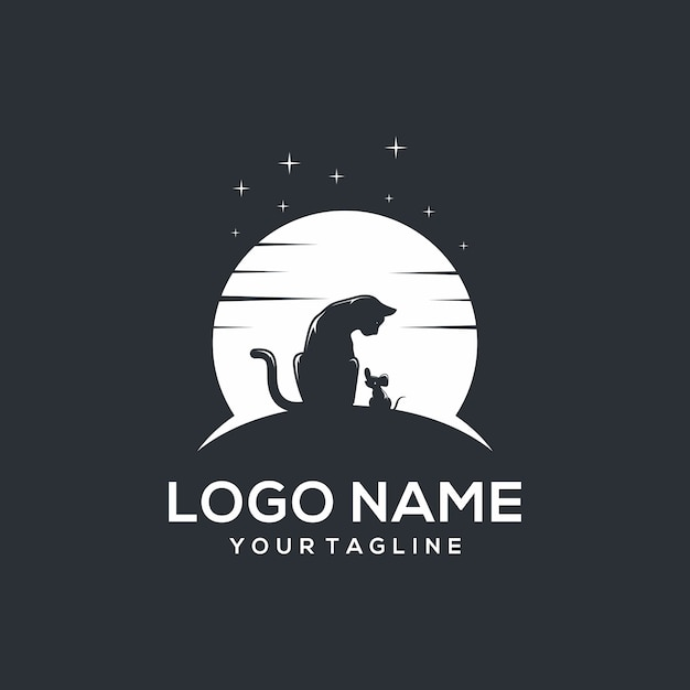Cat and mouse logo Premium Vector