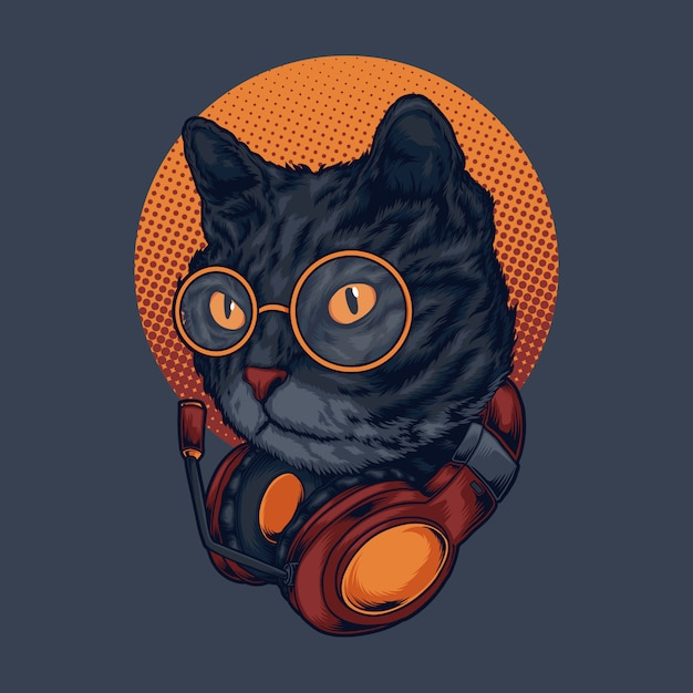 Cat music illustration Premium Vector