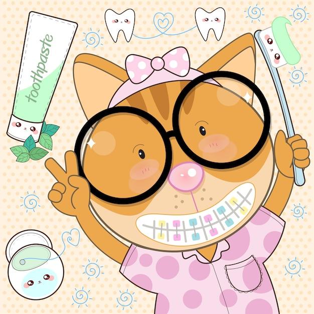 猫歯科矯正歯科医と歯磨き粉できれいにする Premiumベクター