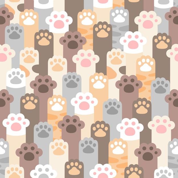 고양이 발 발자국 원활한 패턴 프리미엄 벡터