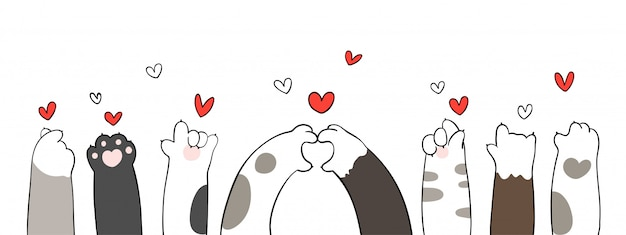 Cat paws with little heart for valentine. Premium Vector