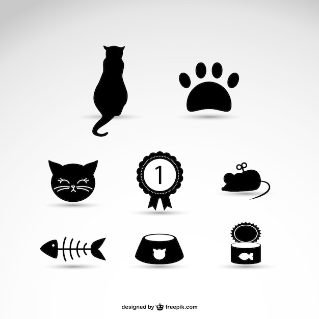 Cat pet icons Free Vector