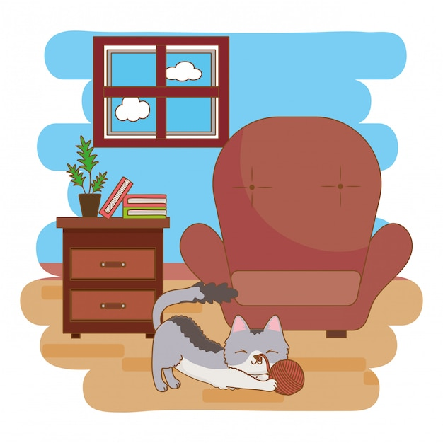 Cat playing with ball of wool in the living room Premium Vector