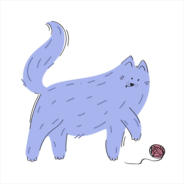 Cat playing with a ball Premium Vector