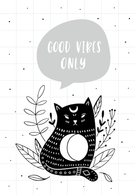 Cat and quote: good vibes only Premium Vector