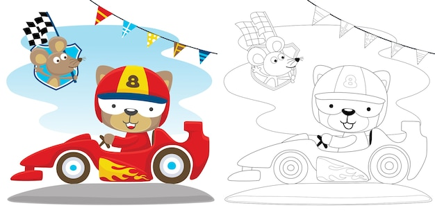 Cat ride on speed car with a mice carrying finish flag Premium Vector