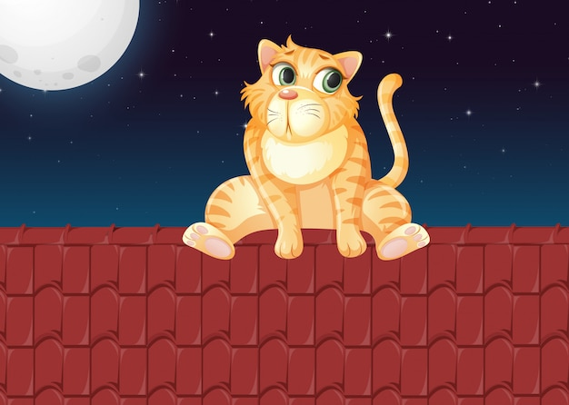 A cat on the roof Free Vector